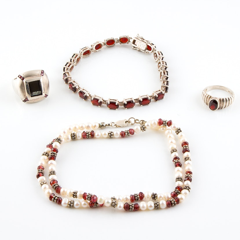 Sterling Silver Jewelry Featuring Garnets, Freshwater Pearls and Hematite
