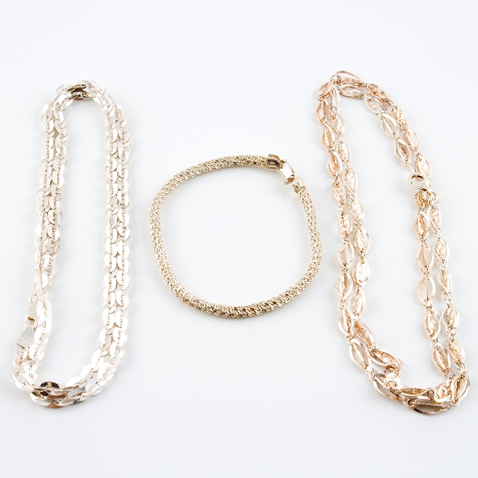 Sterling Silver Chain Necklaces and Rope Bracelet