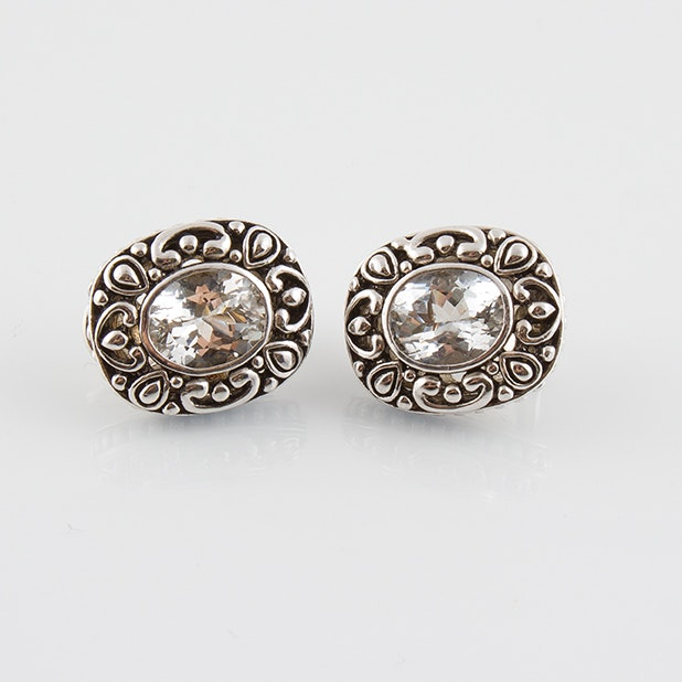 Sterling Silver White Topaz Clip Earrings