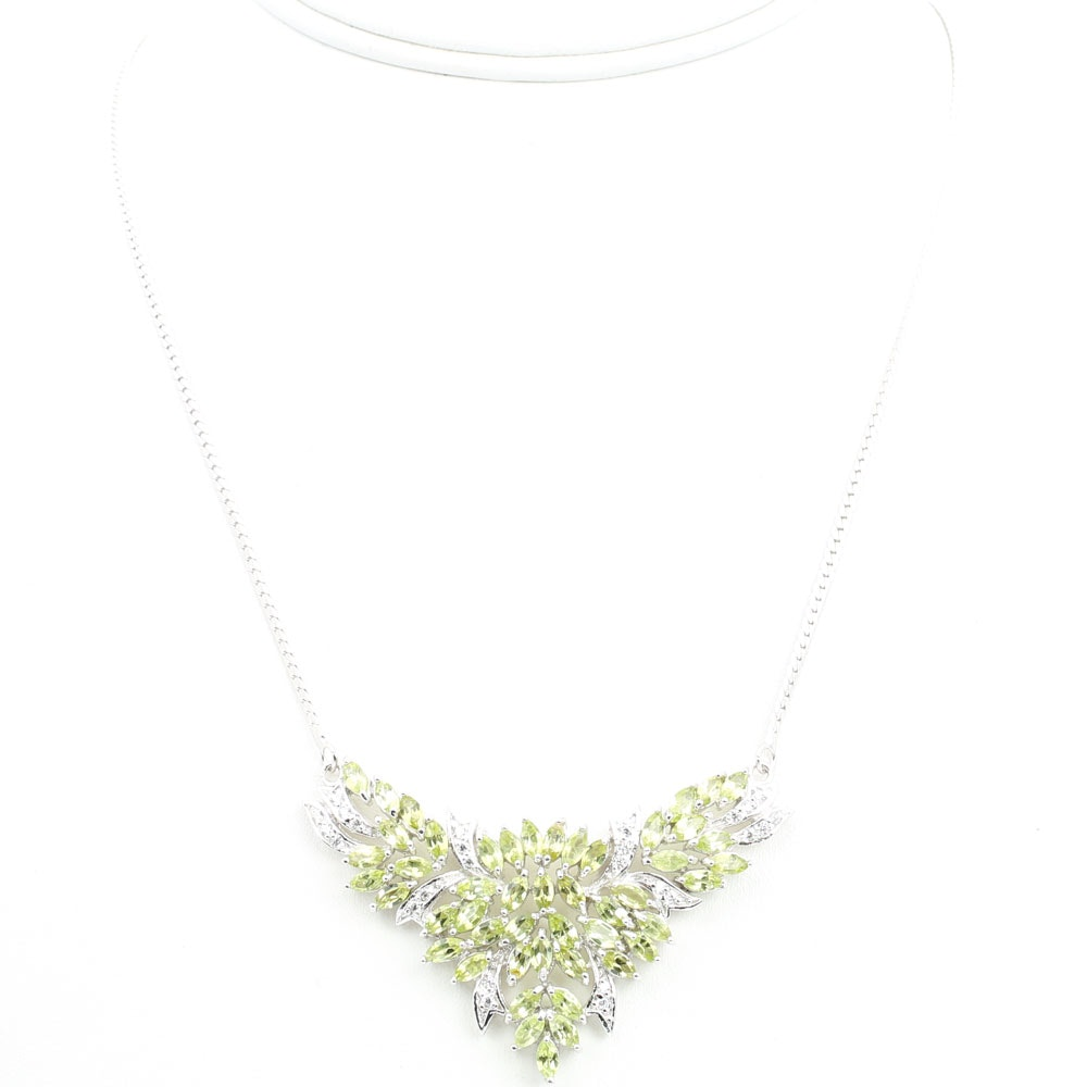 Sterling Silver 6.86 CTW Peridot and Cubic Zirconia Pendant Necklace
