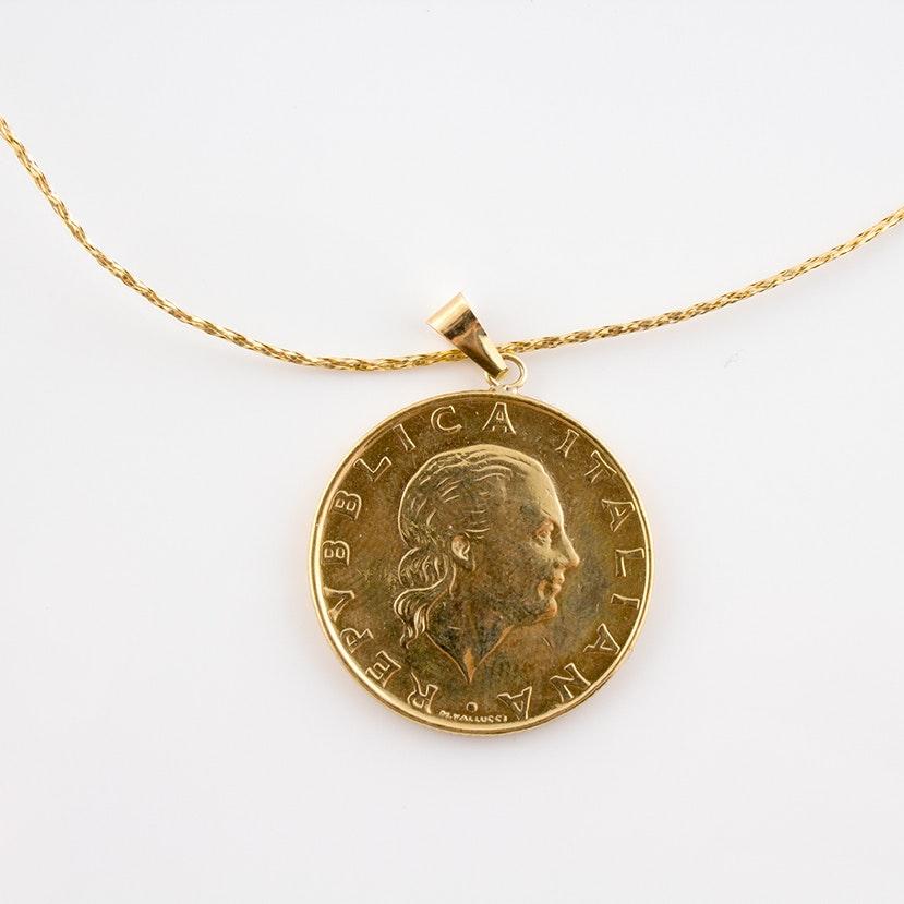 1985 200 Lire Copper Token Pendant in 14K Gold Bail
