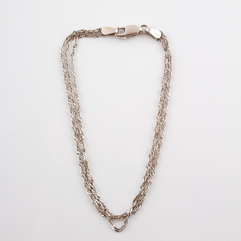 14K White Gold Multi-Strand Herringbone Bracelet