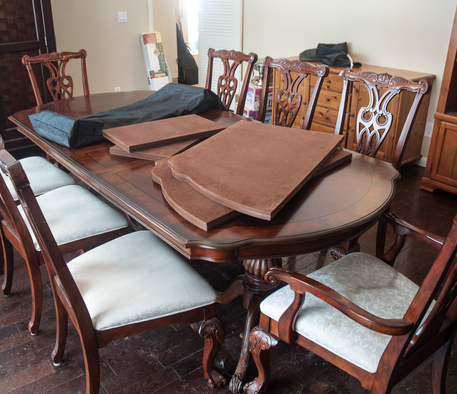 American Empire Style Dining Table and Chippendale Chairs