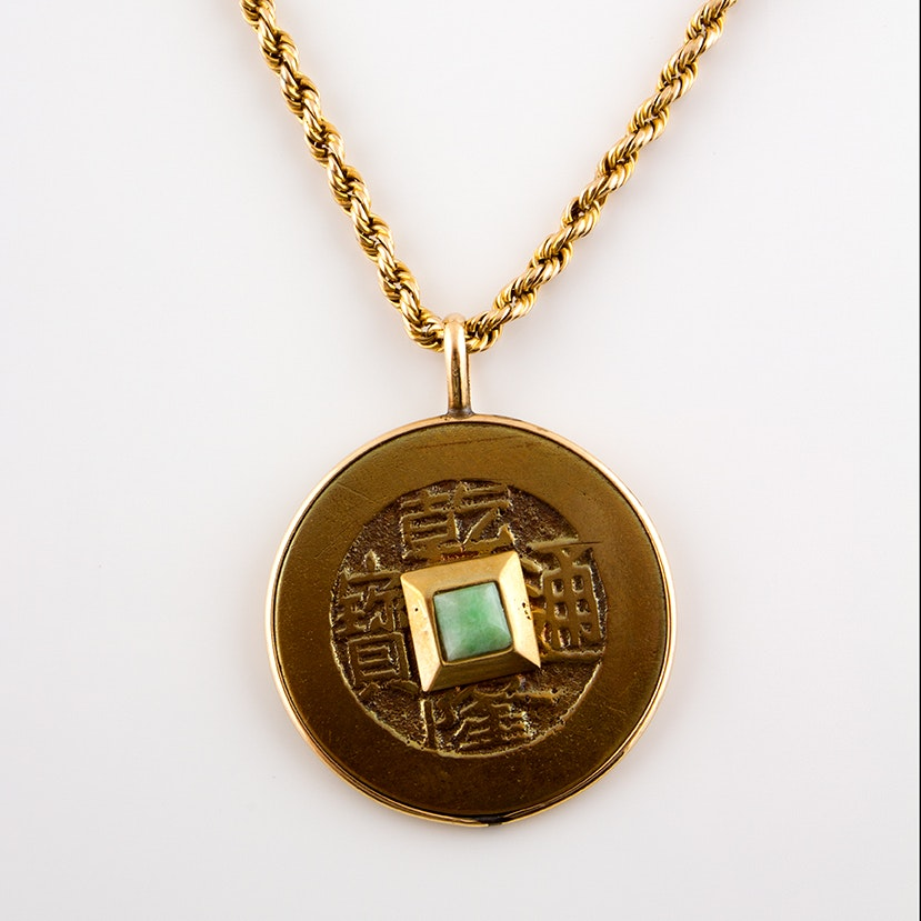14K Yellow Gold Chain Necklace with Jadeite and Chinese Coin Pendant