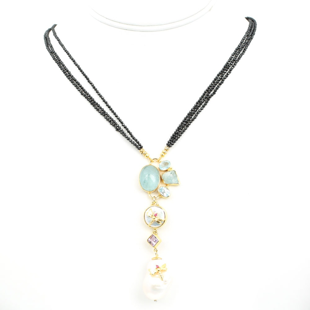 Gold Wash Over Sterling Silver Black Spinel and Gemstone Necklace
