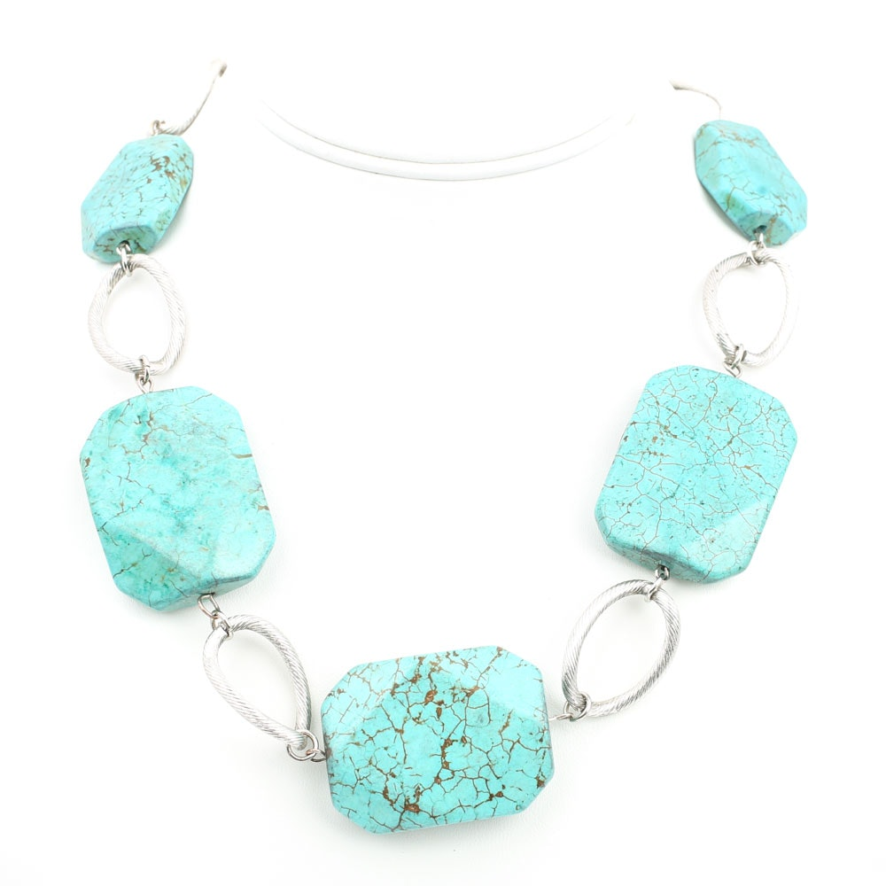Plated Silver Synthetic Turquoise Necklace