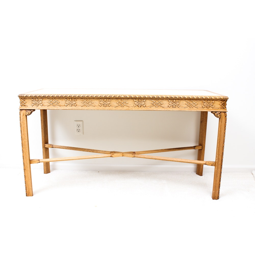 Marble and Wood Console Table