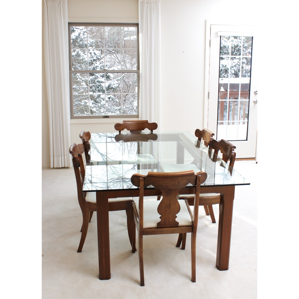 Custom Glass Topped Dining Table With Chairs