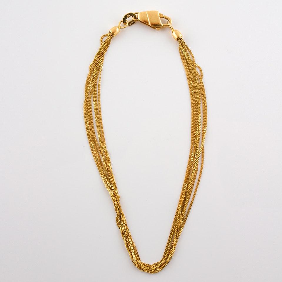 18K Yellow Gold Multi-Strand Bracelet