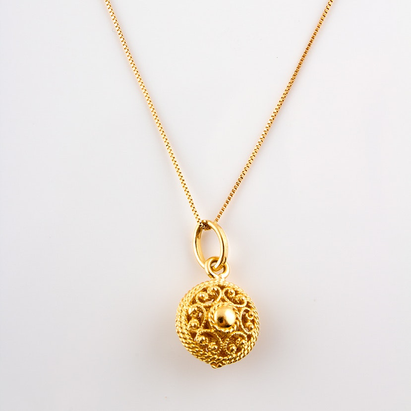 14K Yellow Gold Chain with 18K Yellow Gold Necklace Pendant
