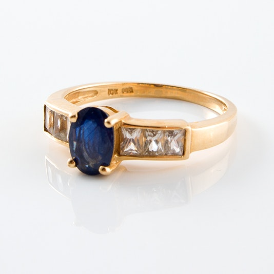 10K Yellow Gold and Sapphire Ring