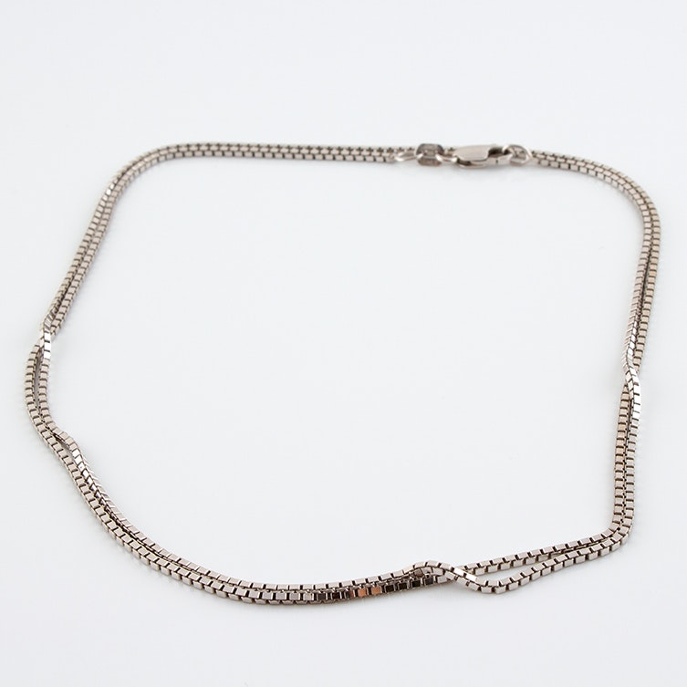 14K White Gold Italian Chain Necklace