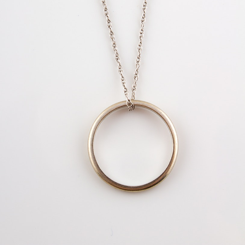14K White Gold Band and Chain Necklace