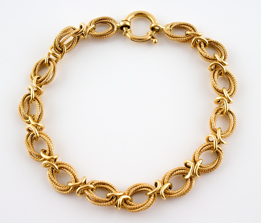 18K Yellow Gold Loop Chain Bracelet