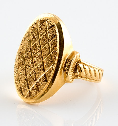 18K Yellow Gold Textured Ring