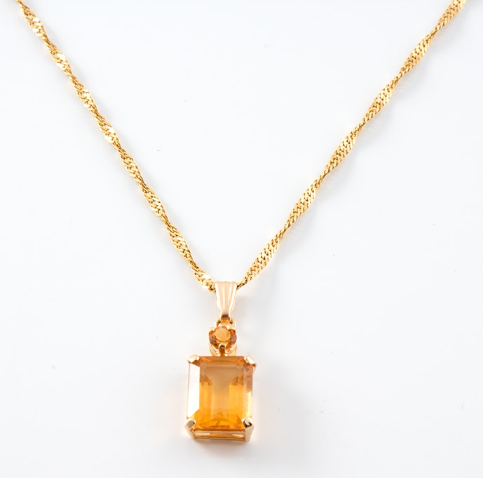 14K Yellow Gold Herringbone Necklace with Citrine Pendant
