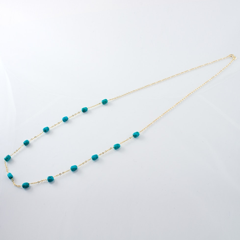 14K Yellow Gold MIlor Dyed Howlite Station Necklace