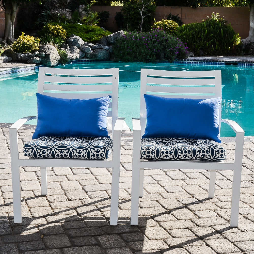 Pair of Slat Back Patio Armchairs