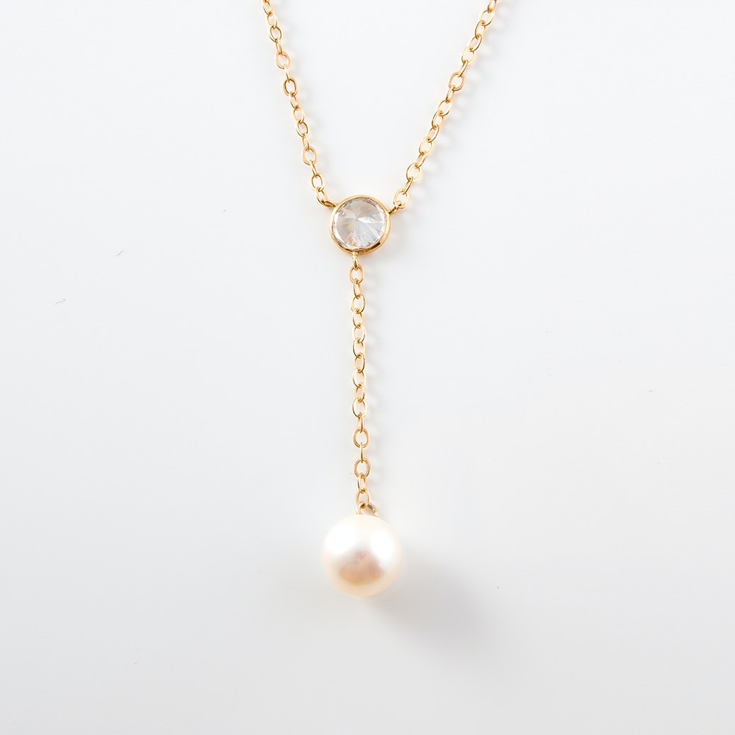 14K Yellow Gold and Cultured Pearl and Cubic Zirconia Drop Necklace
