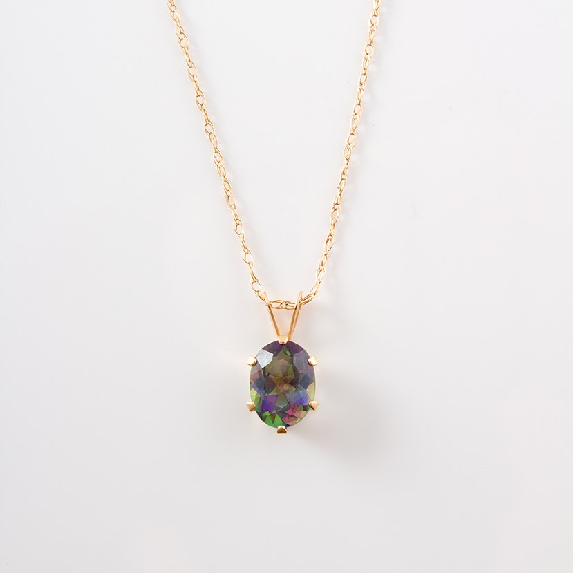 """14K Yellow Gold and """"Mystic"""" Topaz Pendant Necklace"""