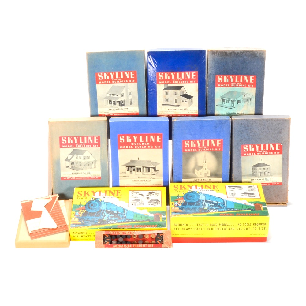 Vintage Skyline Model Buildings and Train Accessories