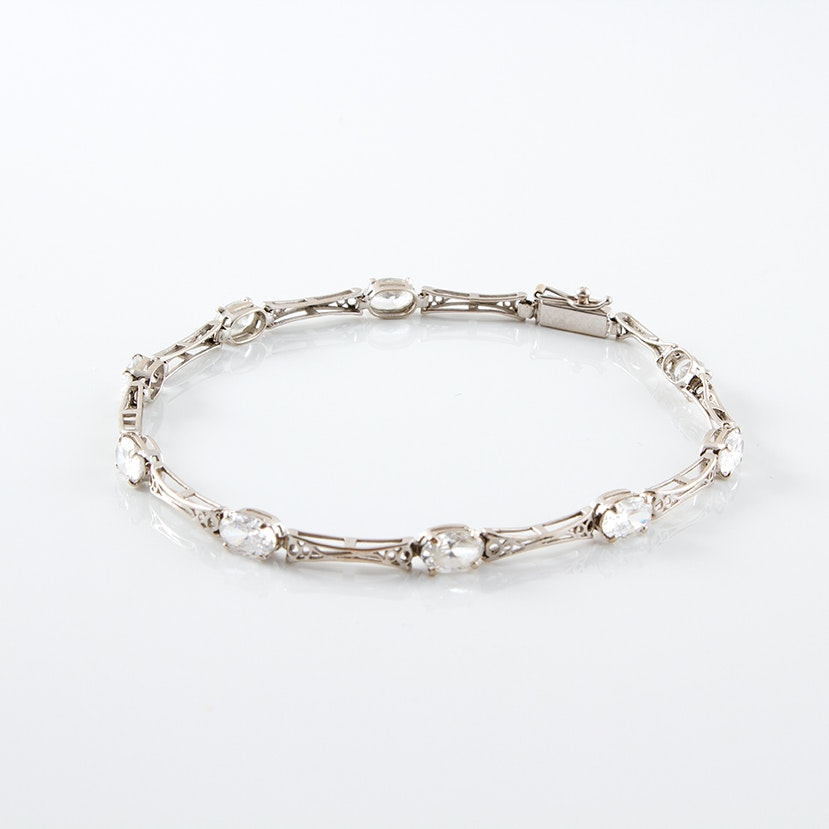 14K White Gold and Cubic Zirconia Vintage Style Bracelet