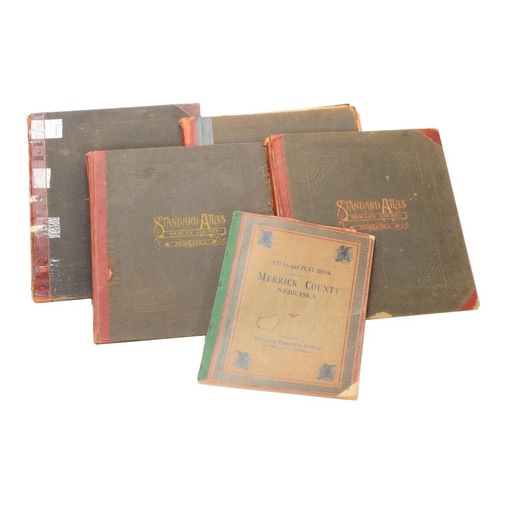 Group of Antique Nebraska County Atlases