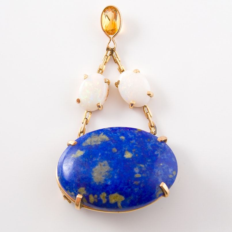14K Yellow Gold Lapis Lazuli, Opal and Citrine Necklace Pendant