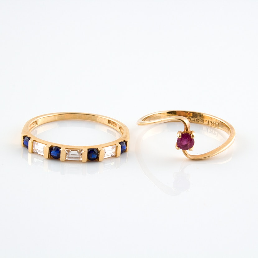 14K Yellow Gold Ruby and Sapphire Rings