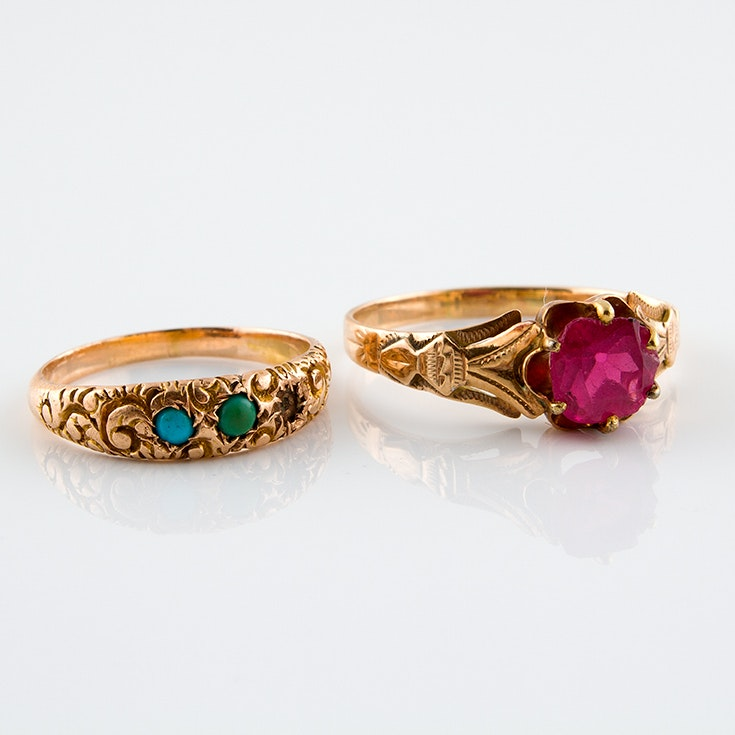 14K Yellow Gold Victorian Rings Featuring Turquoise and Garnet