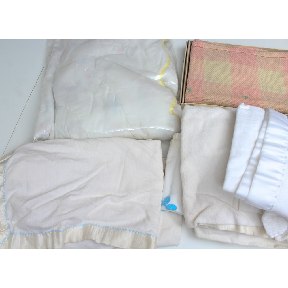 Vintage Hand Sewn Baby Blankets and Quilt