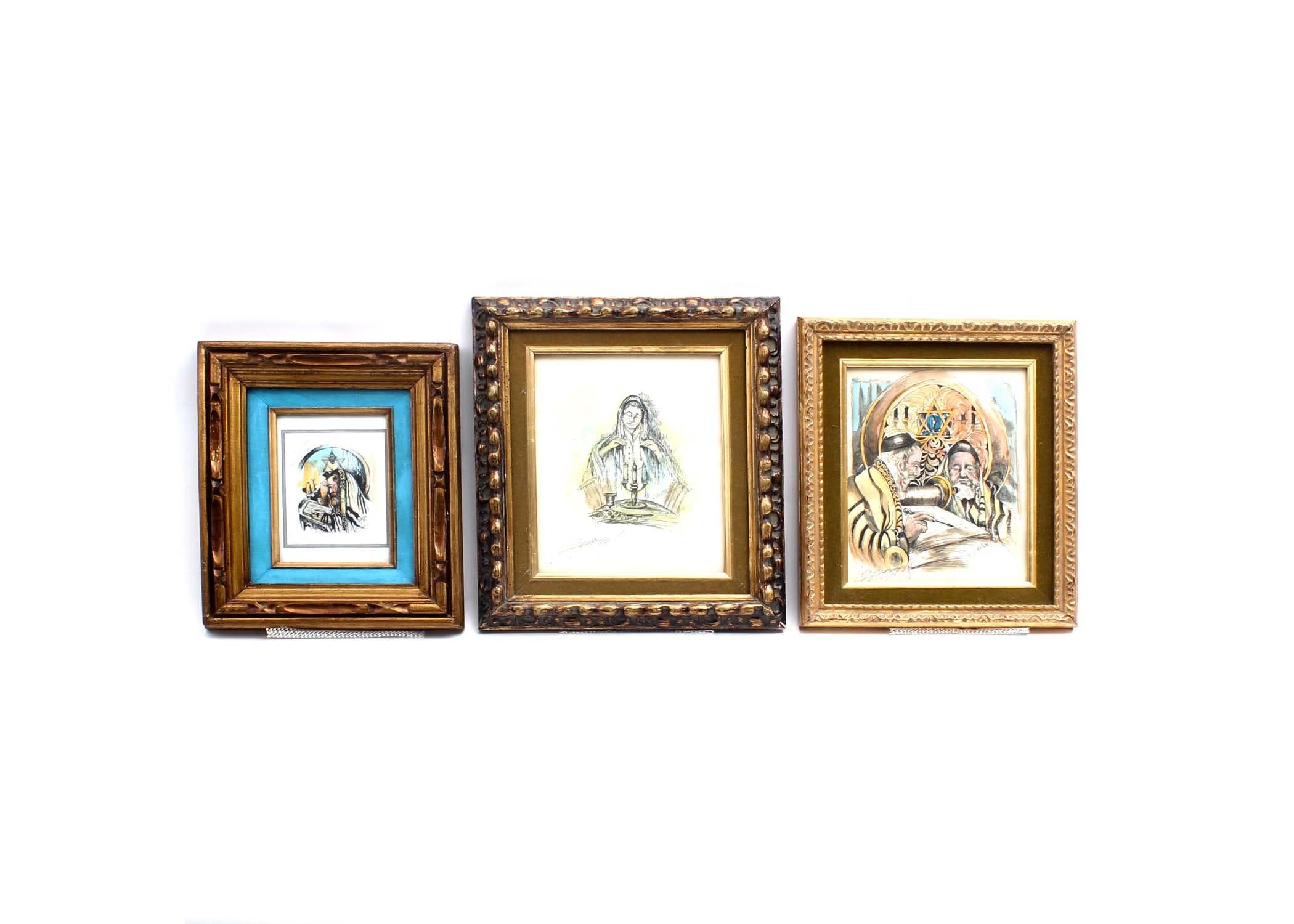 Three Signed Louis Spiegel Judaica Etchings
