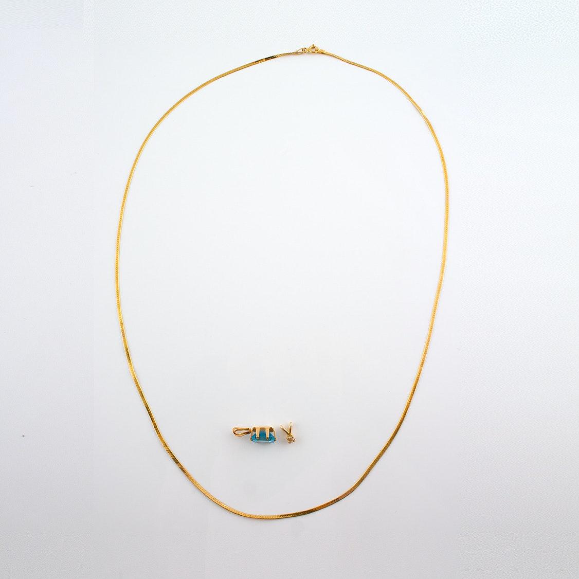 14K Gold Herringbone Chain with Diamond and Blue Cubic Zirconia Pendants