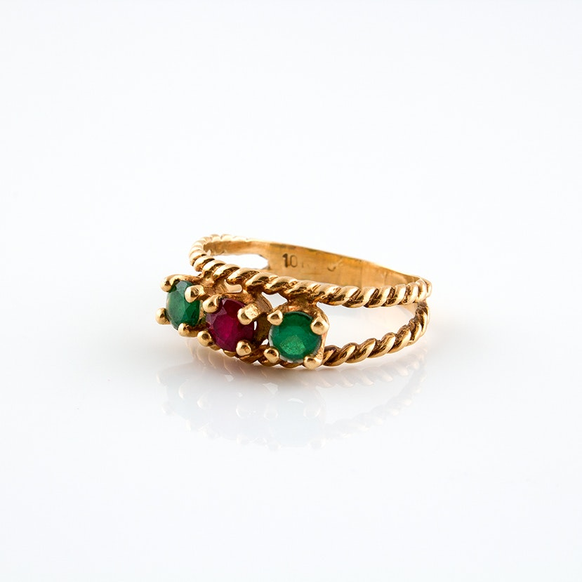 10K Yellow Gold Ring with a Synthetic Ruby and Emeralds