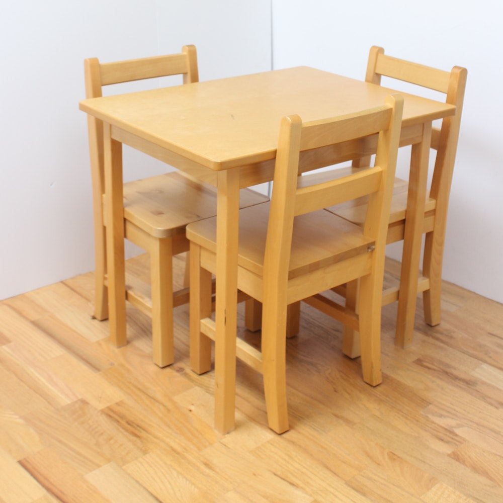 Hardwood Children's Table and Chairs