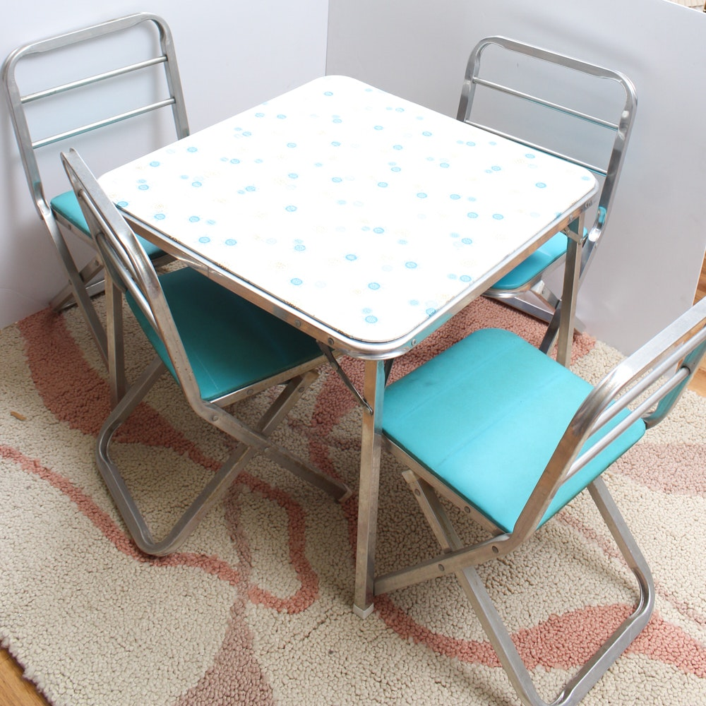 Retro Children's Table and Chairs With Vintage Toys