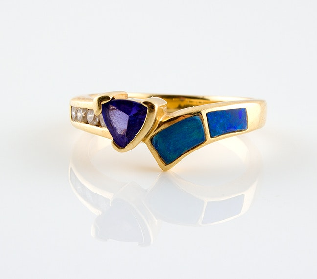 14K Yellow Gold Diamond, Tanzanite and Opal Ring