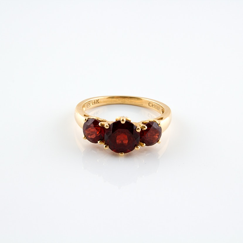 14K Yellow Gold Ring with Diamonds and Garnets