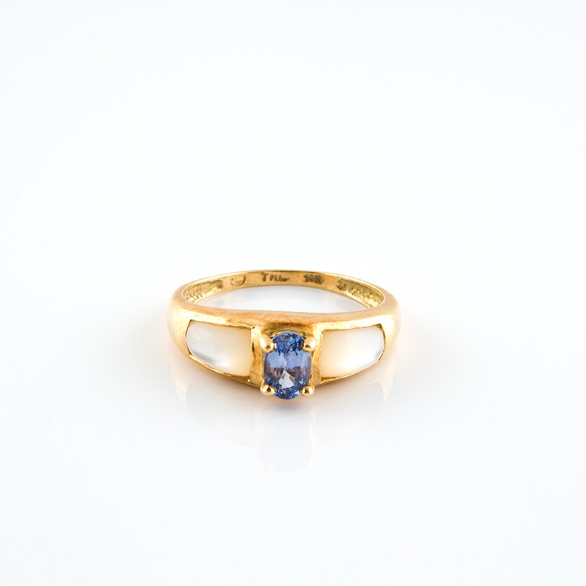 14K Yellow Gold Sapphire and Mother of Pearl Ring