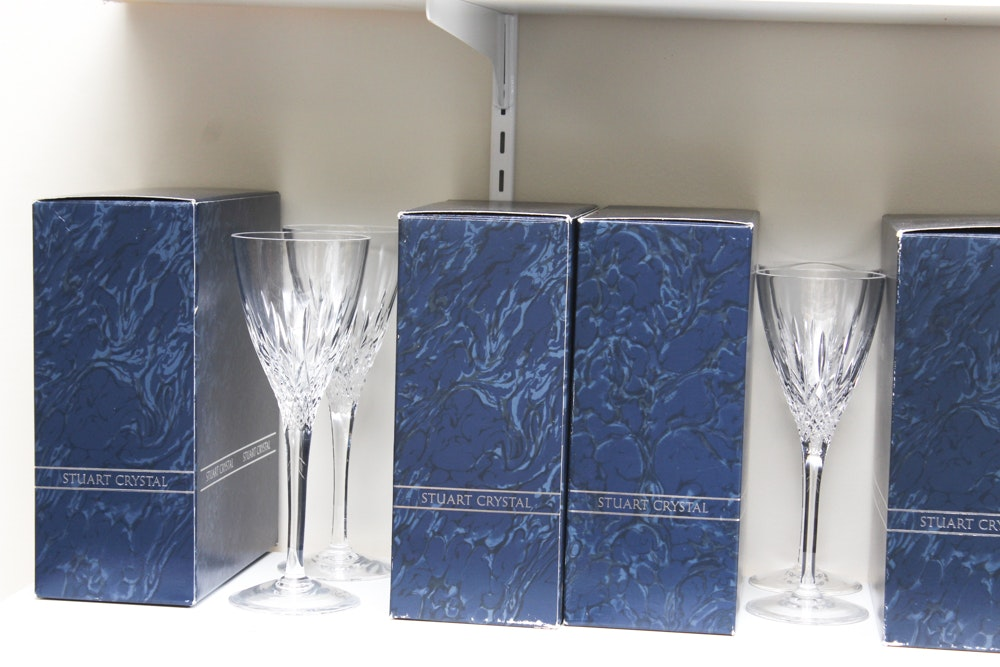 "Stuart Crystal ""Madison"" Stemware and Tiffin-Franciscan Style Iced Tea Glasses"