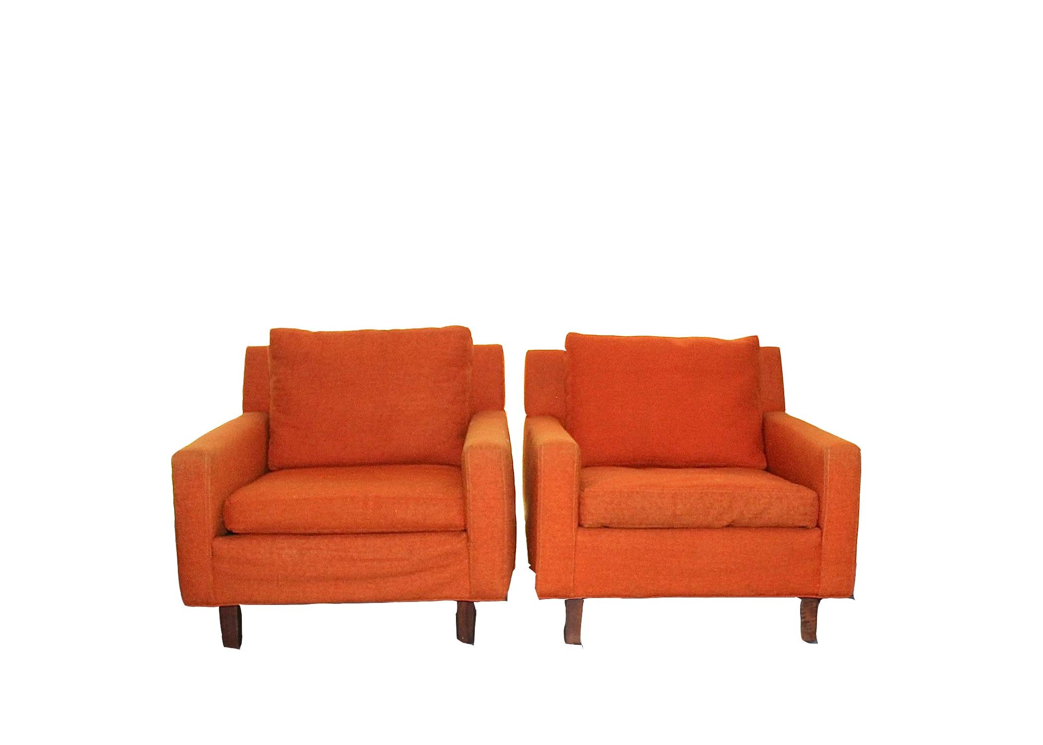 Mid Century Modern Upholstered Orange Arm Chairs