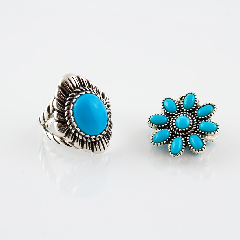 """Carolyn Pollack """"Relios"""" Clip Earrings and Ring"""
