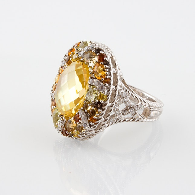 Judith Ripka Sterling Silver Cocktail Ring Featuring Smoky Quartz and Citrine