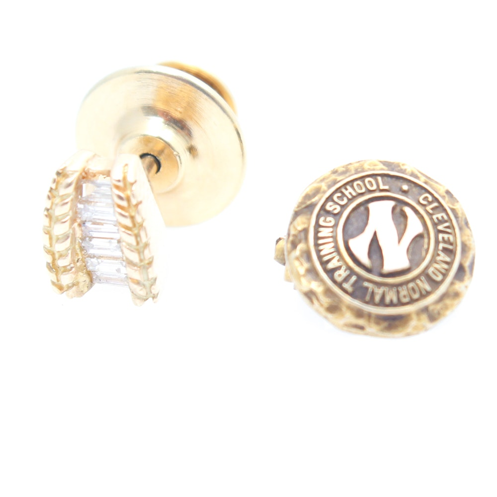 14K Yellow Gold and Diamond Pin With 10K Yellow Gold Pin