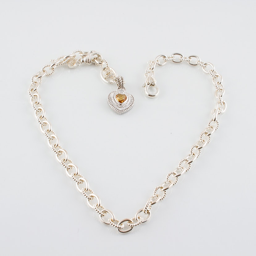Judith Ripka Sterling Silver Chain Necklace with Citrine Heart Charm
