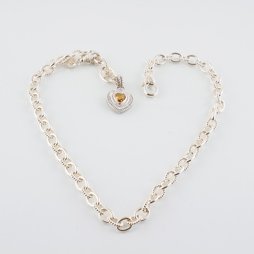 Judith ripka sterling silver chain necklace with citrine heart charm aloadofball Images
