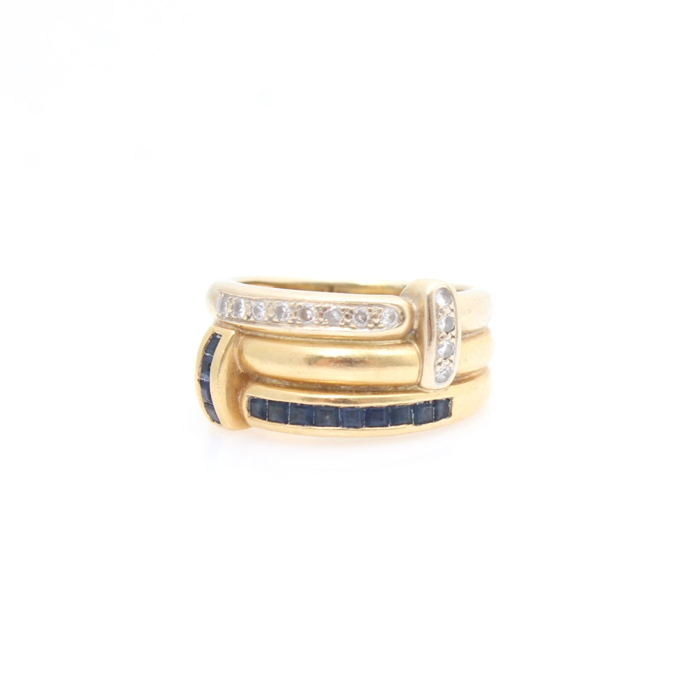 18K Yellow Gold Diamond and Natural Sapphire Ring