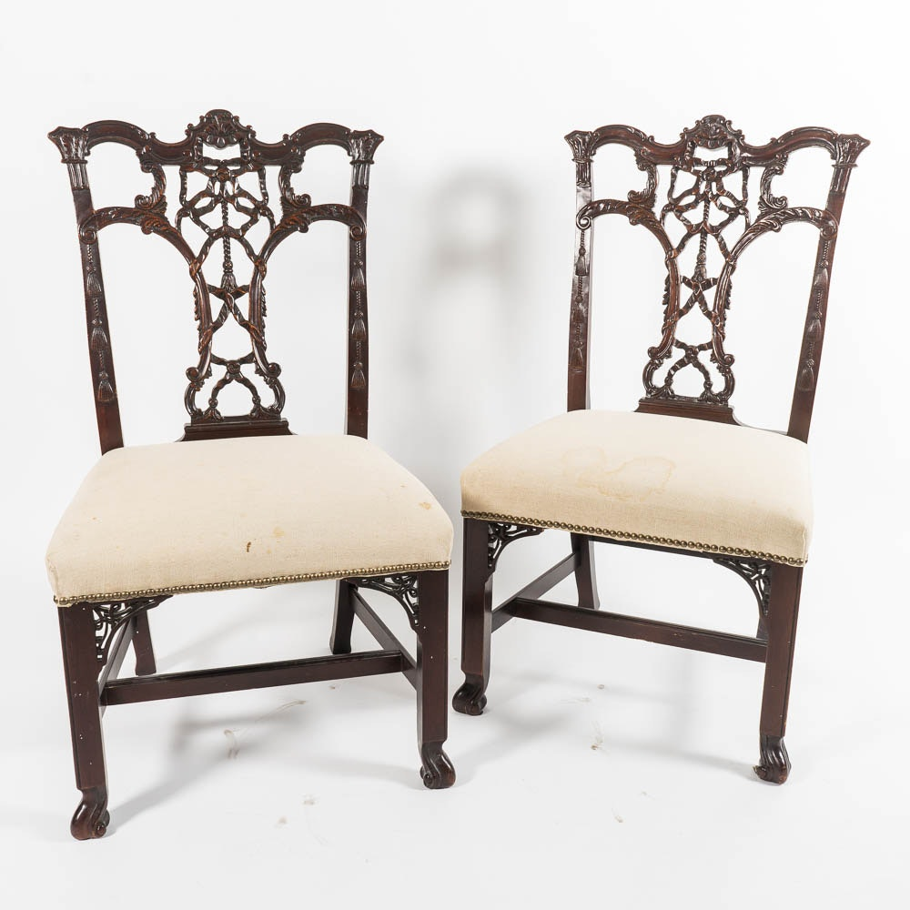 Pair of Chippendale Style Chairs by Hickory Chair