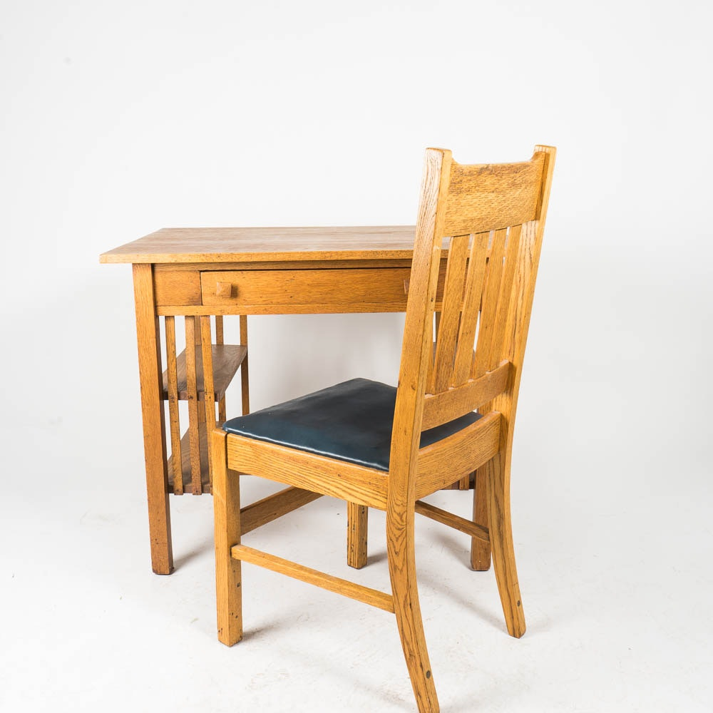 Mission Style Oak Desk and Chair