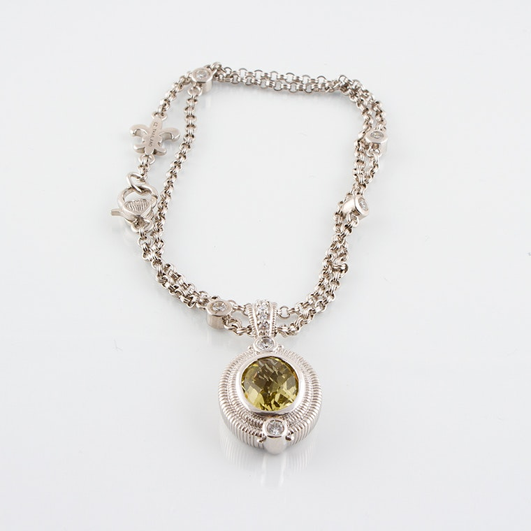Judith Ripka Sterling Silver Necklace with Praseolite Pendant